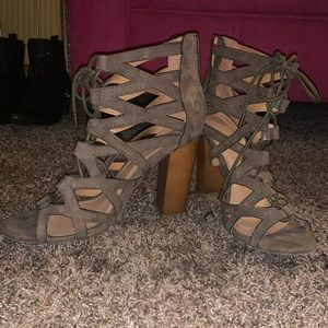 Army green strappy heels